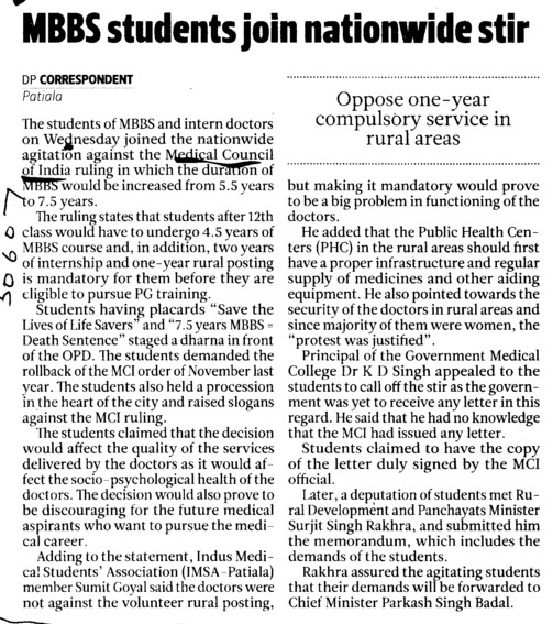 MBBS students join nationwide stir (Medical Council of India (MCI))