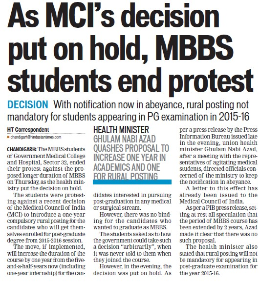 MBBS students end protest (Government Medical College and Hospital (Sector 32))