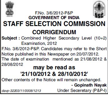 Combined Higher Secondary Level Examination 2012 (Staff Selection Commission)