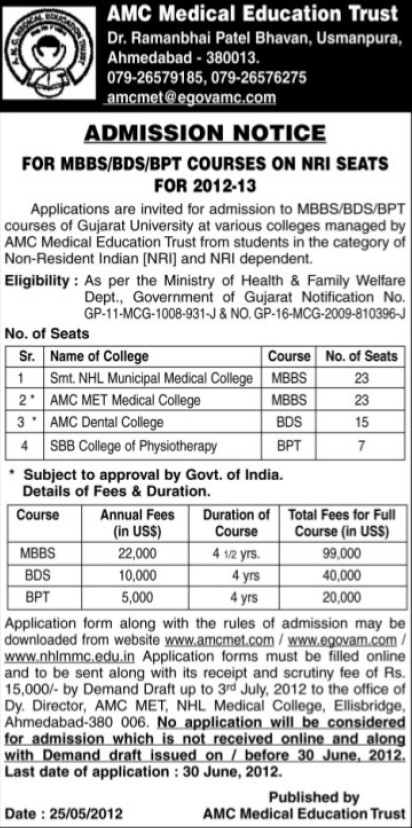 MBBS, BDS and BPT courses (AMC Medical College)