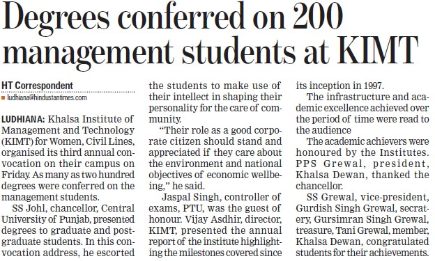 Degrees conferred on 200 management students (Khalsa Institute of Management and Technology for Women)