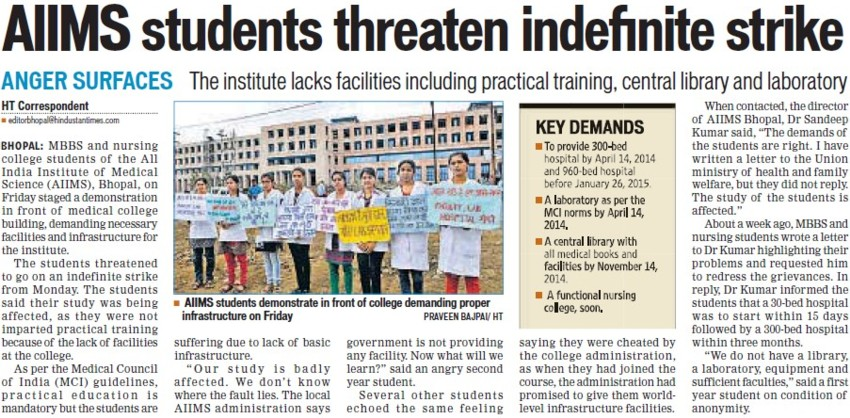 AIIMS students threaten indefinite strike (All India Institute of Medical Sciences (AIIMS))