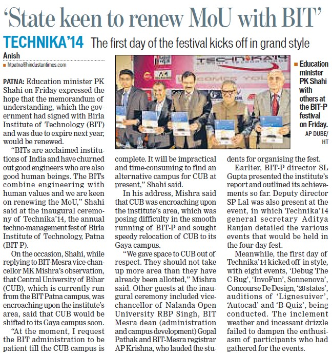 State keen to renew MoU with BIT (Birla Institute of Technology Extension Centre (BIT Patna Campus))