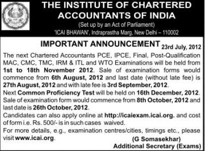 TMC, CMC and WTO Examination (Institute of Chartered Accountants of India (ICAI))
