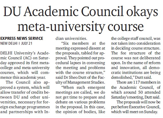 DU academic council okays meta university course (Delhi University)