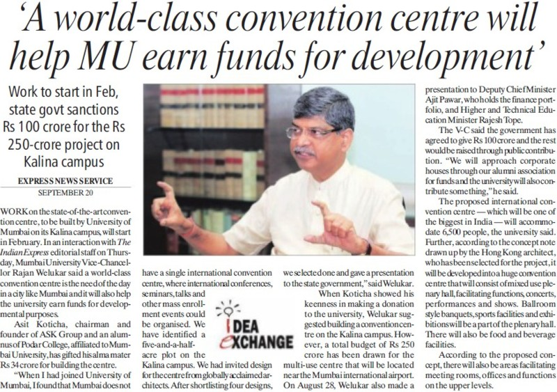 MU earn funds for development (University of Mumbai (UoM))