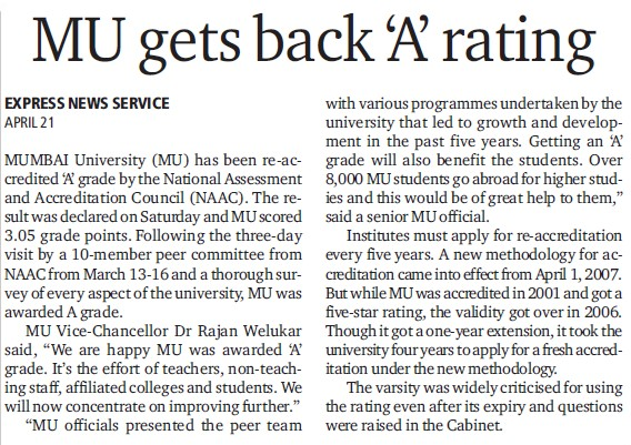 MU gets back A rating (University of Mumbai (UoM))