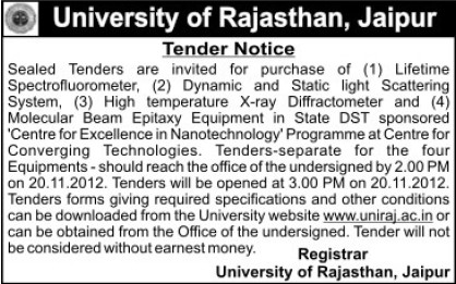 Purchase of Xray diffractomere (University of Rajasthan)