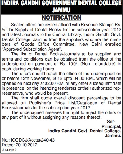 Supply of Dental books (Indira Gandhi Government Dental College)