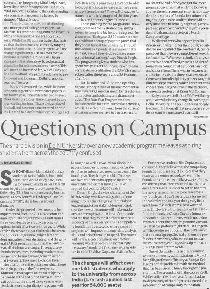 Questions on Campus (Delhi University)