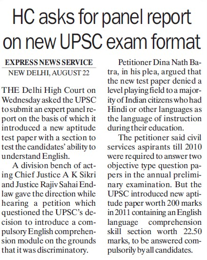 HC asks for panel report on new UPSC format (Union Public Service Commission (UPSC))