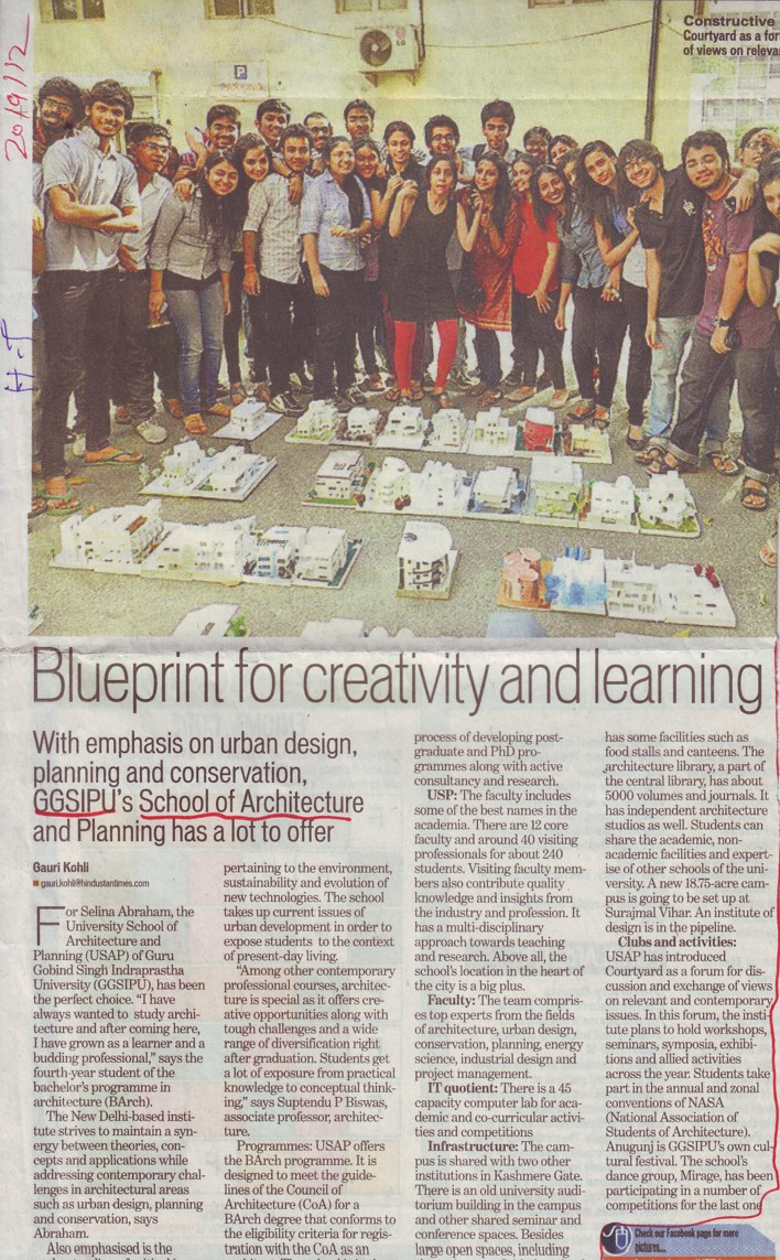 Blueprint for creativity and learning (Guru Gobind Singh Indraprastha University GGSIP)