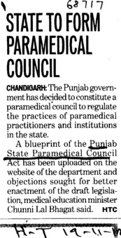 State to form paramedical council (Punjab State Para Medical Council)