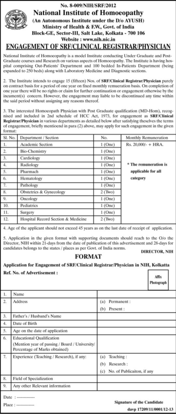 Clinical Registrar and Physician (National Institute of Homoeopathy (NIH))