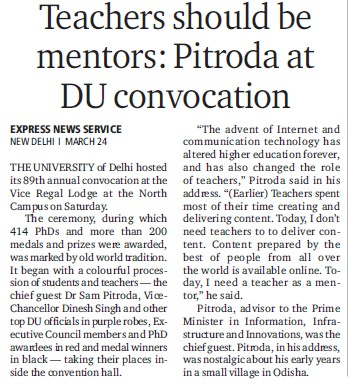 Teachers should be mentors, Pitroda at DU Convocation (Delhi University)