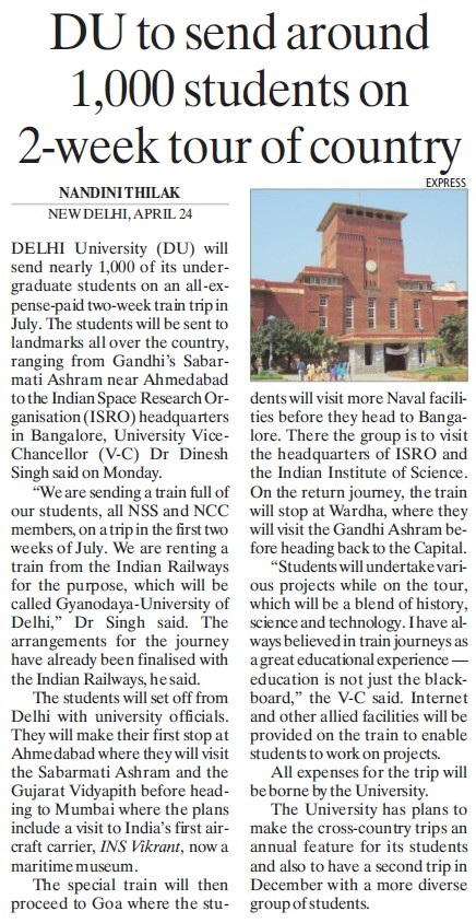 DU to send around 1000 students on 2 week tour of country (Delhi University)