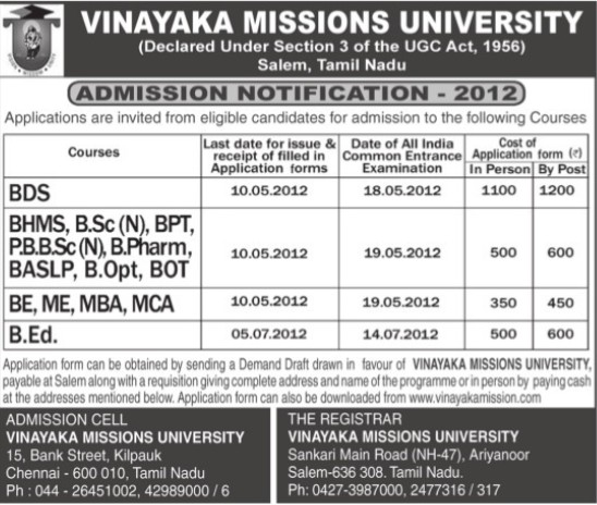 BDS, BHMS and B Ed Courses (Vinayaka Missions University)