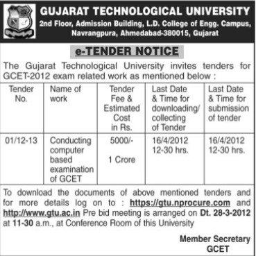 Conducting computer based examination of GCET (Gujarat Technological University)