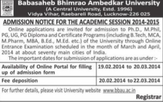 PhD, M Phil and B Ed courses (Babasaheb Bhimrao Ambedkar University)