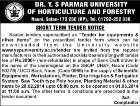 Unspecified equipments (Dr Yashwant Singh Parmar University of Horticulture and Forestry)