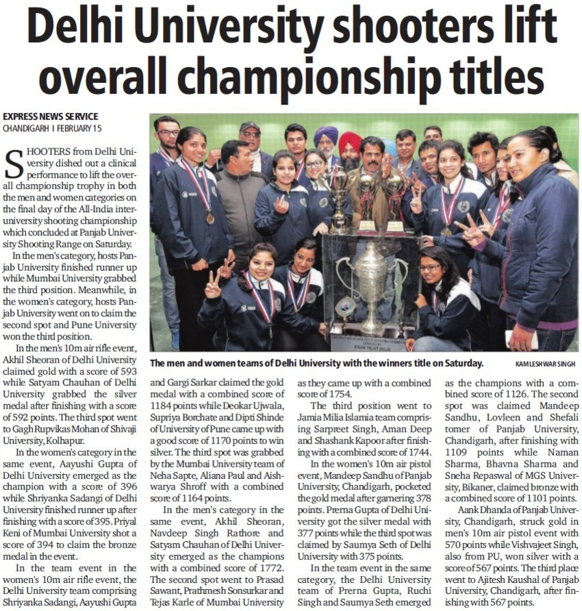 DU shooters lift overall championsship titles (Delhi University)