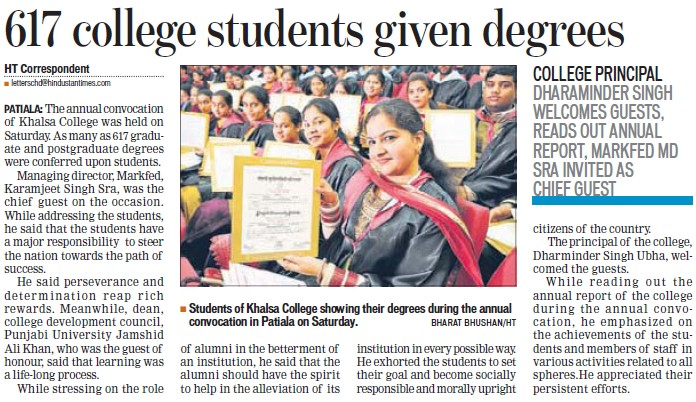 617 Colleges students given degrees (Khalsa College)