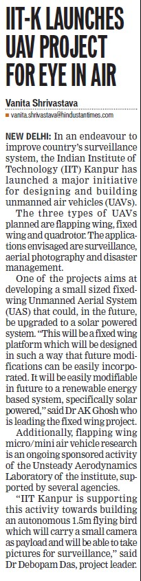 IIT K launches UAV project for eye in air (Indian Institute of Technology (IITK))