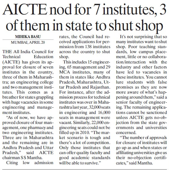 AICTE nod for seven Institutes (All India Council for Technical Education (AICTE))