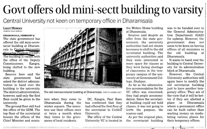 Govt offers old mini sectt building to varsity (Central University of Himachal Pradesh)