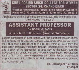 Asstt Professor for commerce (Guru Gobind Singh College for Women Sector 26)