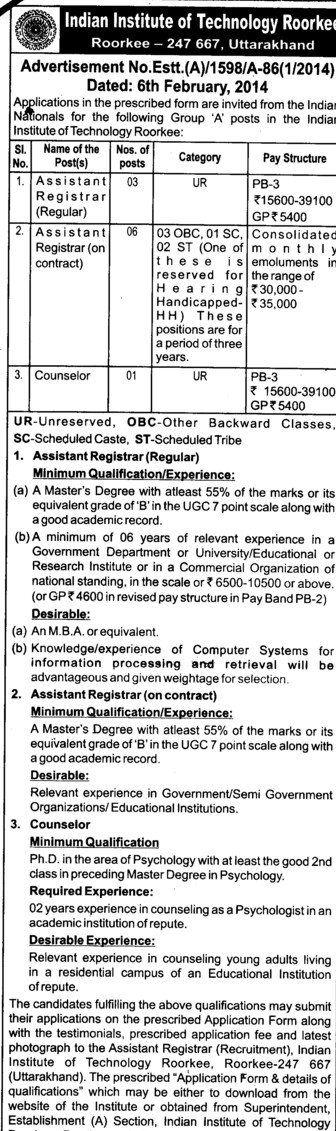 Asstt Registrar and Counselor (Indian Institute of Technology (IITR))