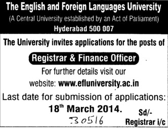 Finance Officer (English and Foreign Languages University)