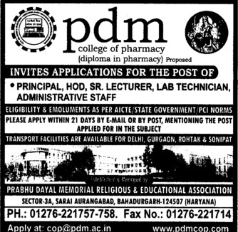 HoD, Sr Lecturer and Principal (PDM College of Pharmacy Sarai Aurangabad)