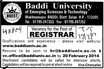 Registrar (Baddi University of Emerging Sciences and Technologies)