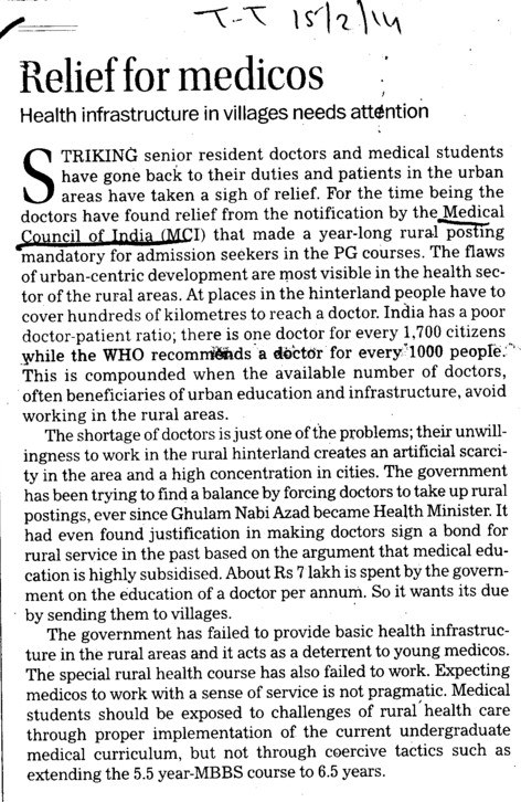 Relief for medicos (Medical Council of India (MCI))