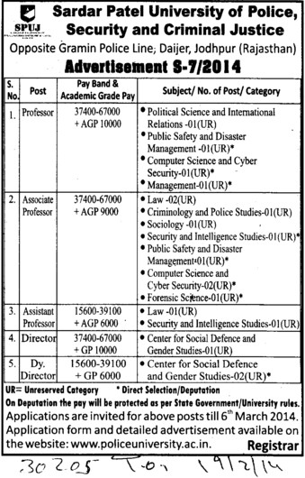 Deputy Director (Sardar Patel University)