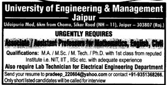 Asstt Professor for Maths (University of Engineering and Management UEM)
