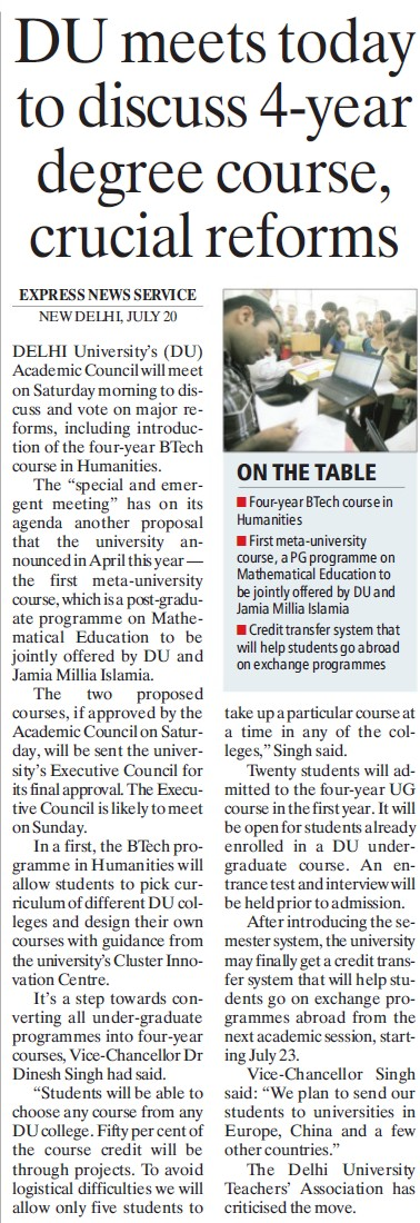 DU meets today to discuss 4 year degree course (Delhi University)