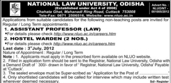 Hostel Warden (National Law University)