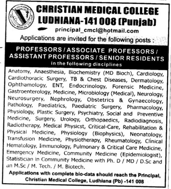 Asstt Professor and Senior Resident (Christian Medical College and Hospital (CMC))