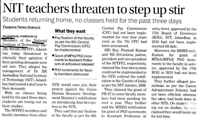 NIT teachers threaten to step up stir (Dr BR Ambedkar National Institute of Technology (NIT))