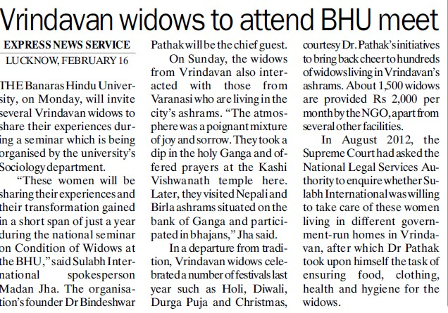 Vrindavan widows to attend BHU meet (Banaras Hindu University)