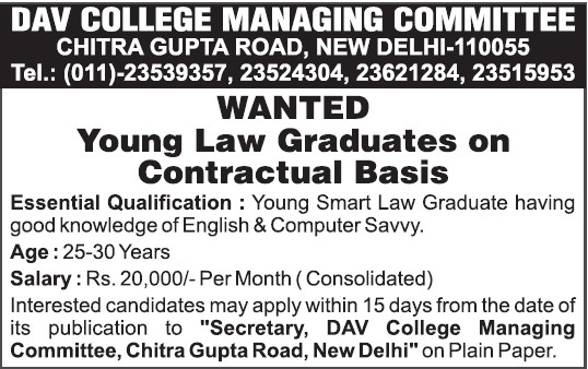 Young Law graduates on contract basis (DAV College Managing Committee)