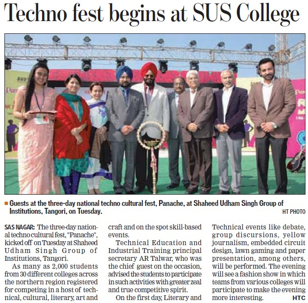 Techno fest begins at SUS College (SUS Group of Institutions)