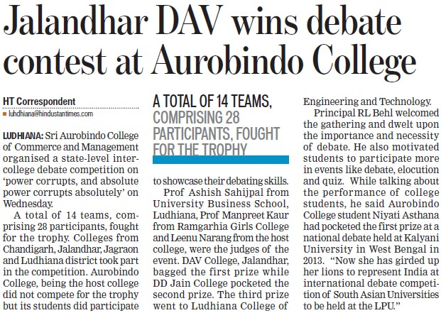DAV wins debate contest at Aurobindo College (Sri Aurobindo College of Commerce and Management)