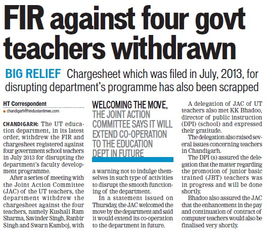 FIR against four govt teachers withdrawn (Education Department Chandigarh Administration)