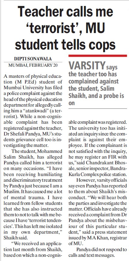Teachers calls me terrorist, MU students tells cops (University of Mumbai)