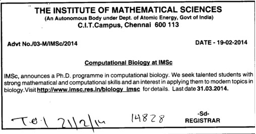 PhD Programme (Institute of Mathematical Sciences)