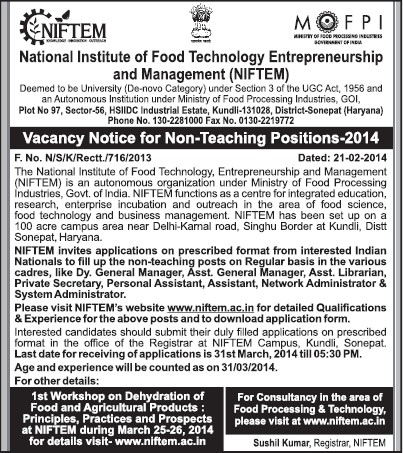 Non teaching posts (National Institute of Food Technology Entrepreneurship and Management (NIFTEM))