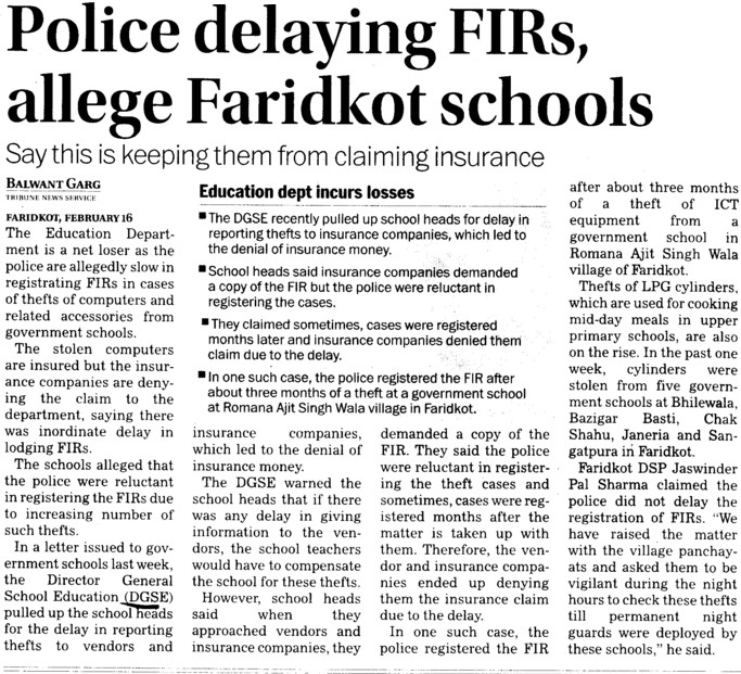 Police delaying FIRs, allege Faridkot schools (Director General School Education DGSE Punjab)